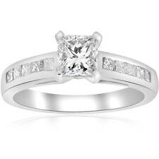 1 1/2ct Princess Cut Diamond Engagement Ring 14k White Gold Enhanced Channel Set