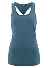 Damen Top mit Rücken Knoten Shirt  T-Shirt petrol weiss Gr. 38 40 42 *015*