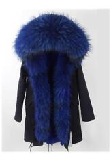 Women's Fur Coat Jacket Parka W/ Genuine Raccoon Fur Hood & Zipper Trims Winter