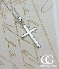 "Fine 9ct Oro Blanco 2.5cm Cruz Colgante Collar 14"" 16"" 18"" 20"" Para Hombre Damas"