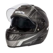 Spada Sp16 Linear Full Face Motorcycle Helmet Drop Sun Visor Matt Black Silver