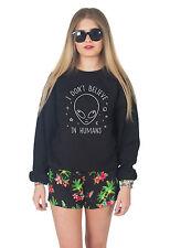 I Don't Believe In Humans Sweater Top Jumper Sweatshirt Fashion Grunge Alien