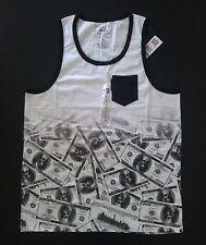 Marc Ecko Unltd Ben Franklin $1000 Bills Skeleton Dead Money Tank Top Shirt NEW!
