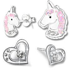 2x// Creolen Kinder Ohrringe 925 echt Silber Sterling Pferd Einhorn Herz Smiley