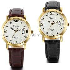 Fashion Men's Date Calendar Leather Roman Numerals Quartz Analog Wrist Watch