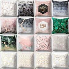Waist Car Seat Geometric Printed Pillow Cases Peach Skin Cashmere Cushion Cover