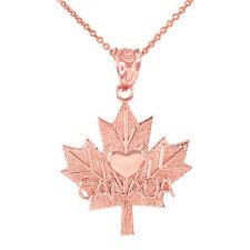 Fine Rose Gold Maple Leaf CANADA Love Heart Pendant Necklace
