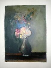 Vlaminck Maurice de Lithographie et gaufrage signée sur velin bouquet de fleurs