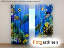 "Fotogardinen ""Fische"" Vorhang 3D Fotodruck, Fotovorhang, Maßanfertigung"