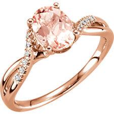 Genuine Morganite Oval Gemstone & .06 cttw Diamonds Ring 14K. White or Rose Gold