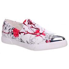 Mujer señoras Plano Sin Cordones Estampado Floral Efecto Metálico Suave Plimsolls Zapatos Talla