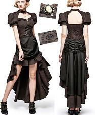 Schleppe Kleid Gothik Steampunk Barock viktorianisch Streifen drapieren Punkrave