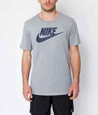 Camiseta de cuello redondo para hombre Nike Gris/Azul Marino Camiseta Casual Athletic BNWT 100% Genuino