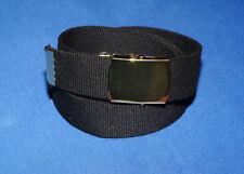 Adults Boys Mens Womens kids Black and Gold Buckle 35mm Webbing Belt l xl xxl