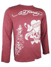 "Ed Hardy By AUDIGIER Uomo Burnout Camicia a maniche lunghe "" Love Kills """