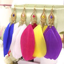 Vintage Bohemia Handmade Feather Long Eardrop Dangle Earrings Colourful Gift