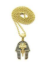 "King Tut Egyptian God Pharaoh Pendant 24"" Ball Chain Necklace Gold Jewelry"