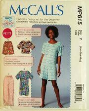 McCall's Pattern MP615 7515 Womens Top Dress Shorts Pants Easy MRP $18.95