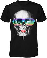 Party Skull Fun T-Shirt Feier Kult Retro Swag Brille Rock Shuffle Rainbow Lolly