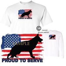 German Shepherd USA Flag Proud To Serve Graphic Art Short / Long Sleeve T Shirt