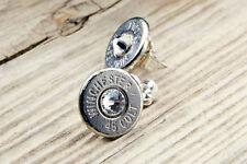 Winchester .45 Colt Nickel Bullet Stud Earrings .925 Sterling Silver, FREE SHIP