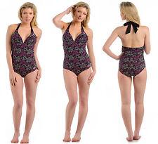 Ladies Urban Beach Flower Outline Swimsuit / Swimming Costume - Size UK 8 - 16