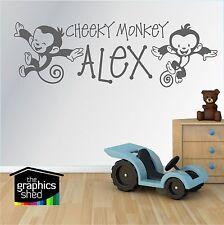 CHEEKY MONKEY BOYS BEDROOM DESIGN WALL ART STICKER ANY NAME