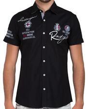Redbridge Men's Shirt Shirts Casual Shirt short Sleeve Fitted Embroidered Black