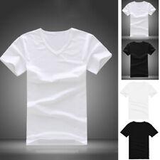 Men Cotton V-Neck T-shirt Slim Fit Short Sleeve Casual Tops Tee Black/White Hot