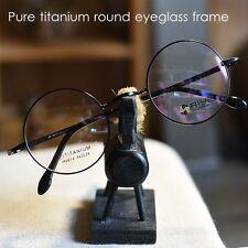 Pure Titanium Vintage Round Optical Eyeglass loop Frame mens Spectacles black