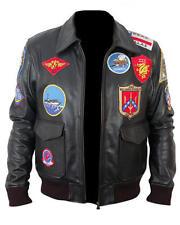 News Men's Top Gun Tom Cruise Designer Black Motorbike Leather Jacket