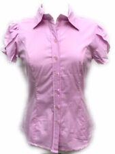 Women's Puff over lay Short Sleeve Button-Down Princess Cut Stretch Shirt