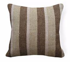 Qa103Ba Dark Brown Rough Linen Blend Check Stripe Cushion Cover/Pillow Case*Size