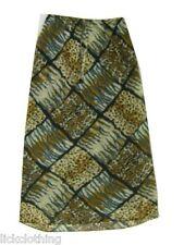 Womens Plus Size Long Georgette Print Lined Skirt Elastic Waist Ties  *LICK