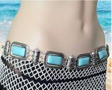 Boho Tribal Bohemian Gypsy Belly Greek Chain Turquoise Metal Belt Hippy Turkish