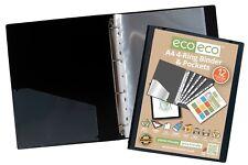 A4 slim ring binder + 12 Plastic punched pockets Quality BLACK Folder eco-eco