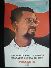 OSPAAAL Original Political Poster Nicaragua Comandante Carlos Ponseca Presente