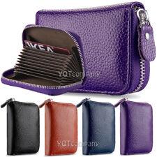 Leather Wallet Pocket Slim Business Credit Card ID Holder Zip Purse Organizer