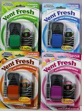 Vent Fresh Clip Car Air Freshener Scent Lily Citrus Madarin Dew Breeze 3 Refils