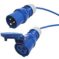 Tough 16 amp Arctic Blue Extension Cable. Caravan Hook up Lead. 240v Plug Socket