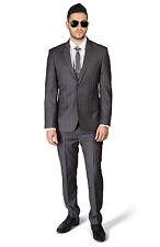 Slim Fit 2 Button Notch Lapel PinStripe Grey Suit Flat Front Pants  By AZAR MAN