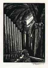 Der ORGELSPIELER - Peter TRUMM - Handsignierter OriginalHolzschnitt GESANG 1920