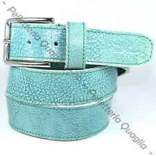 Cintura Pelle Verde Acqua Cuoio Uomo Donna Artigianale Made In Italy 3,5 cm c1