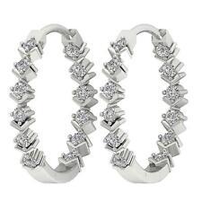 VS1 E Inside Outside Genuine Diamond 0.40 Ct Hoops Earrings 14K Gold Appraisal