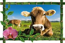 Sticker mural trompe l'oeil déco bambou Vache réf 969