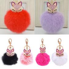 Sweet Fox Head Rhinestone Keyring Soft Fox Fur Pearl Ball Women Keychain Jewelry