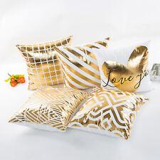 Softer Kissenbezug Gold Muster 45x45cm mit Reißverschluss Edel Weich Weiß Herz