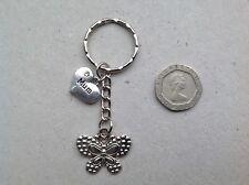 Personalised Handmade Butterfly MUM, MUMMY Bag Charm Keyring, organza gift bag.