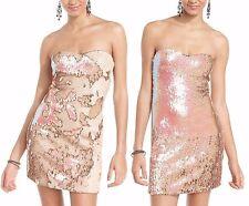 As U Wish Iridescent Pink Sequin Reversible Sweetheart Neckline Cocktail Dress