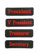 President V President Secretary Treasurer Embroidered Sew on patch Tag Badge